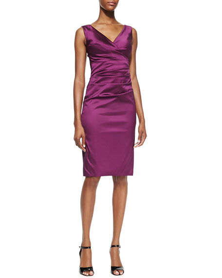 Sleeveless Fitted Ruched Cocktail Dress