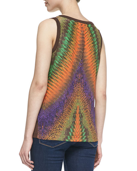 Sleeveless Printed-Back Jersey Top