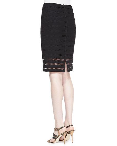 Sojourn Crochet-Stripe Pencil Skirt