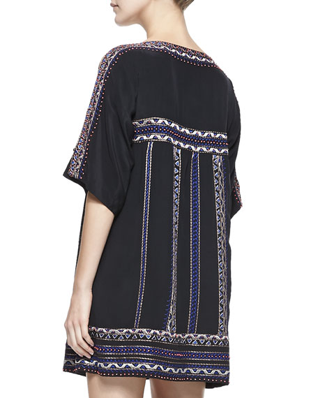 Run Wild Silk Boat-Neck Shift Dress