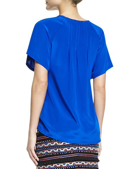 Fearless Split-Neck Stitch-Pleat Top