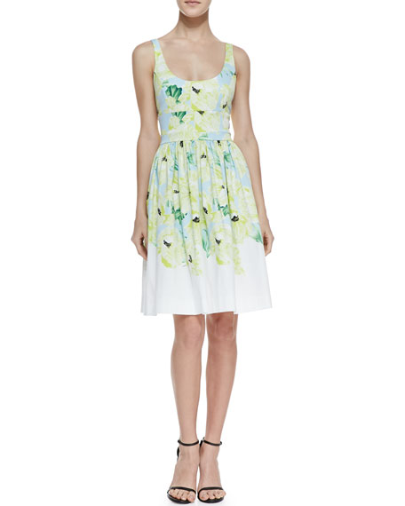 Holiday Poppy Print Fit-And-Flare Dress, Ice Cooler