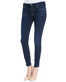 7 For All Mankind Lux Night Mid Rise Ankle-Cropped Skinny-Leg Jeans