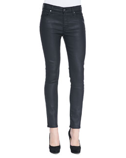 7 For All Mankind Mid-Rise Ankle Skinny Jeans, Black Jeather