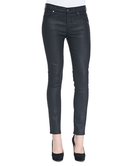 Mid-Rise Ankle Skinny Jeans, Black Jeather