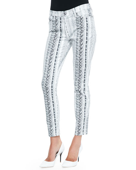Reptile-Print Ankle Skinny Jeans