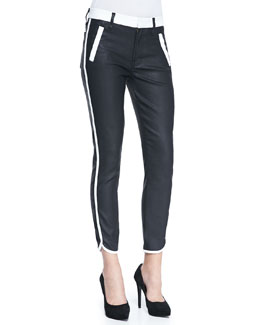 7 For All Mankind Sportif Cropped Coated Skinny Jeans