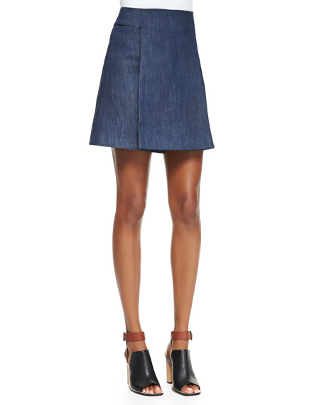 Front-Fold Denim Skirt