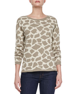 Minnie Rose Giraffe Jacquard Long-Sleeve Pullover
