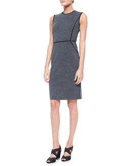 Tory Burch Marcia Sleeveless Sheath Dress With Piping Accent