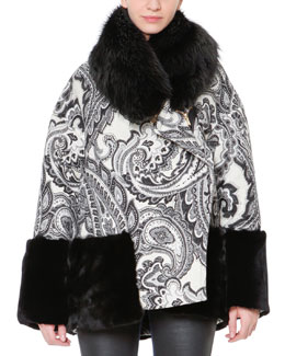 Just Cavalli Paisley Jacquard Rabbit Fur-Trim Jacket