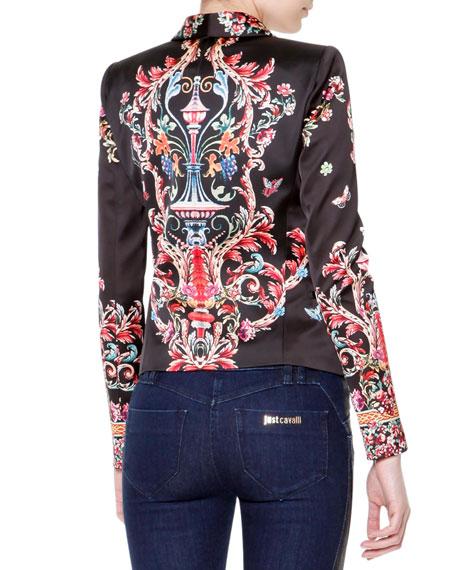 Floral Print Long-Sleeve Satin Blazer