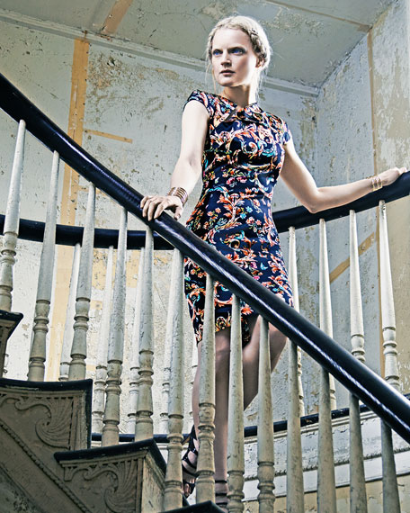 Cap-Sleeve Scroll-Print Dress