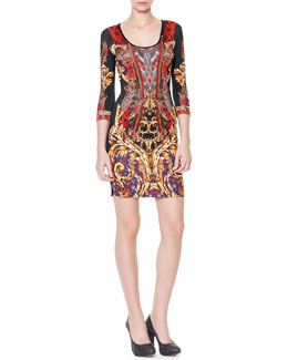 Just Cavalli 3/4-Sleeve Gypsy Knife Print Dress