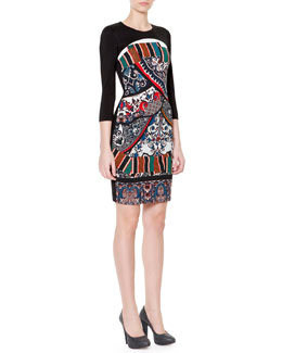 Just Cavalli 3/4-Sleeve Printed Front Sheath Dress