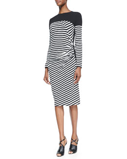 DKNY Striped Draped-Front Dress
