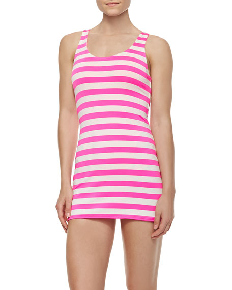 Horizontal-Striped Jersey Cover-Up Dress