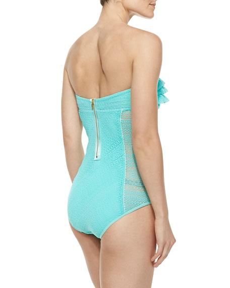 Ruffle-Detail Bandeau Maillot Swimsuit, Aqua Sky