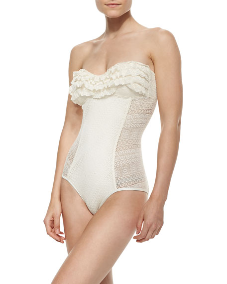 Ruffle-Detail Bandeau Maillot Swimsuit, Angel