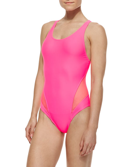 Spliced-Racerback Maillot Swimsuit