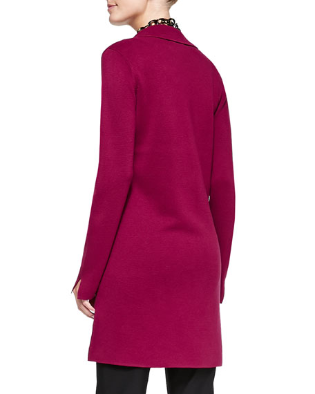 Silk-Cotton Interlock Long Drama Jacket, Women's