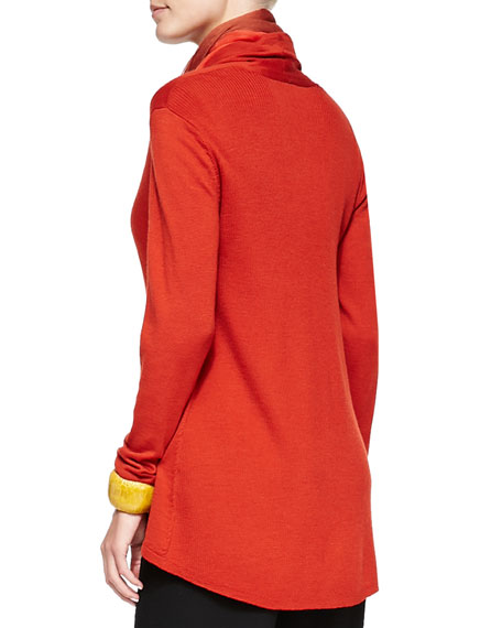 Angled-Front Merino Jersey Cardigan, Women's