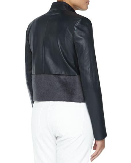 Asymmetric Wool & Leather Jacket, Blue/Gray