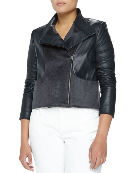 Asymmetric Wool & Leather Jacket, Blue/Gray