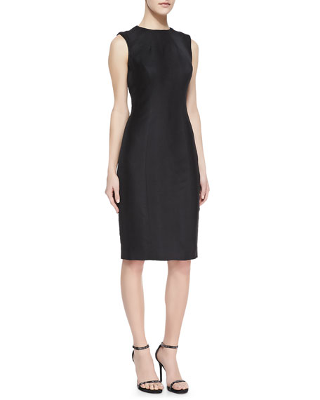 Sheath Dress With Leather Trim