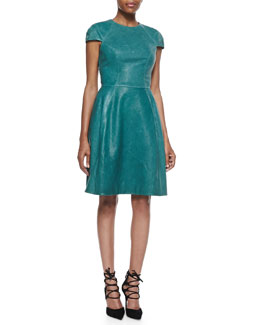 Monique Lhuillier Leather Cap-Sleeve Dress