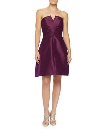 Monique Lhuillier Strapless A-line Party Dress, Plum