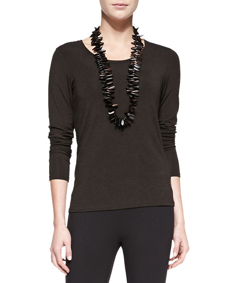 Long-Sleeve-Slim-Jersey Top, Petite