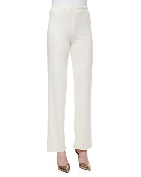 Caroline Rose Knit Flat-Front Straight-Leg Pants