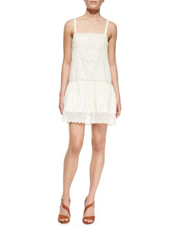 Pam & Gela Openwork Drop-Waist Cotton Dress