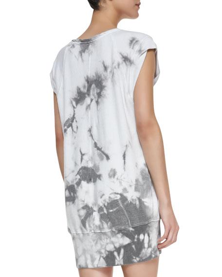 Cap-Sleeve Twisted Muscle Sweatshirt Dress