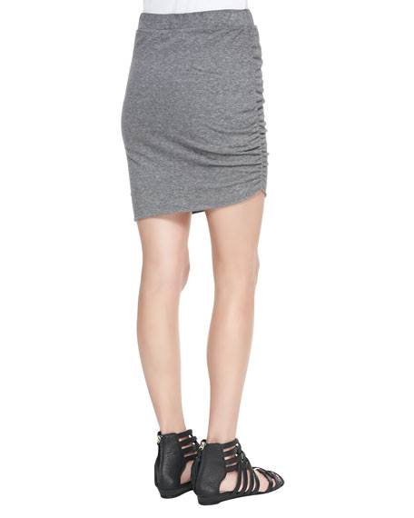 Slub Jersey Side-Ruched Skirt