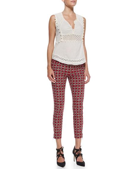 Ikat-Printed Stretch Twill Pants