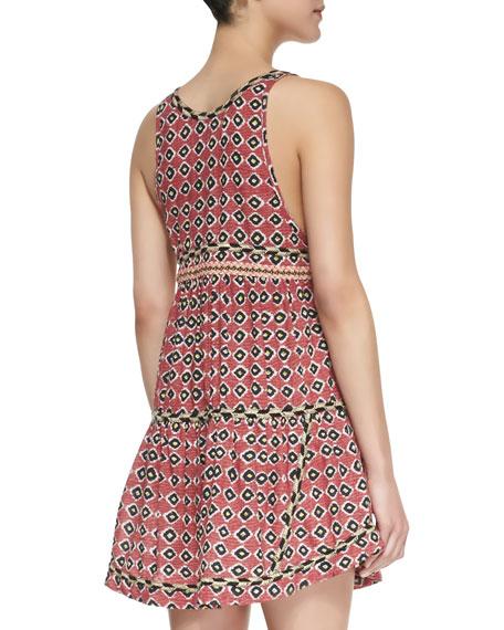 Sleeveless Tiered Ikat-Print Dress