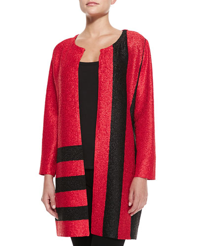 Graphic Long Crinkle Jacket, Petite