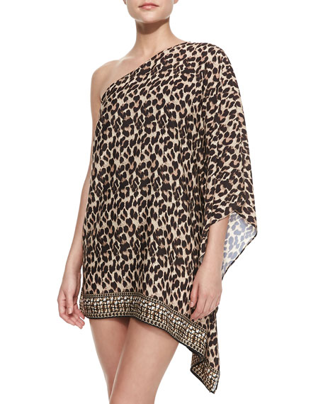 Leopard-Print One-Shoulder Coverup