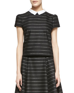 Alice + Olivia Blake Striped Puff-Sleeve Top