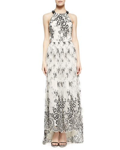 Alice + Olivia Isla Leather/Chiffon T-Back Long Dress