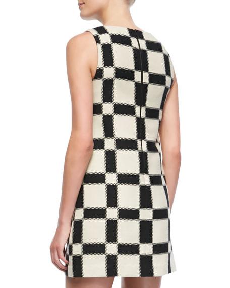 Dot Magnified-Check Shift Dress