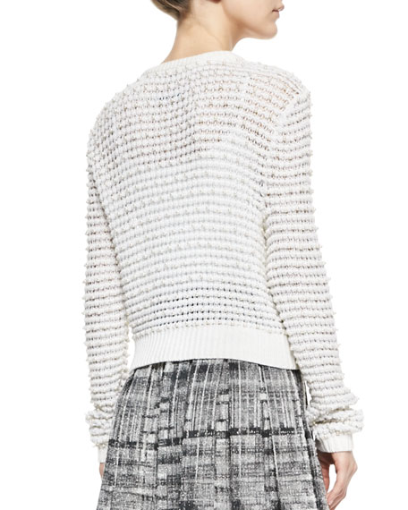 Cropped Novelty Stitched Cardigan with Pearl Buttons