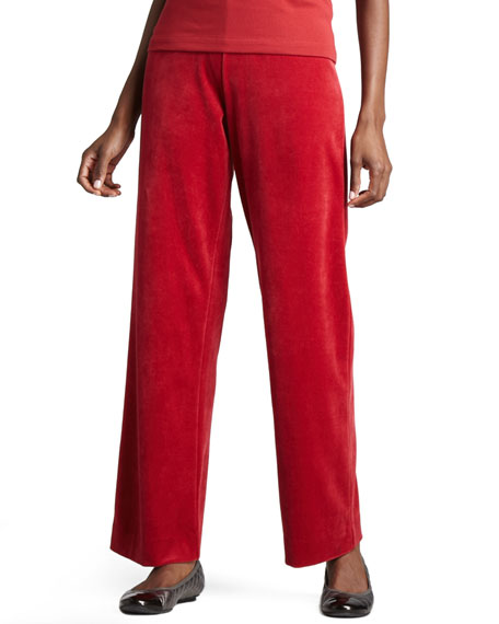 Velour Straight-Leg Pants