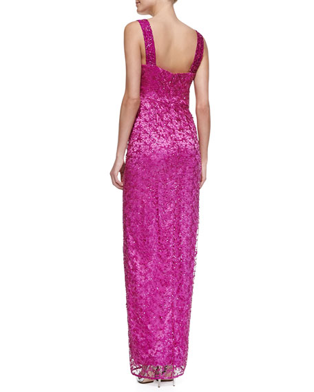 Sleeveless Metallic Long Gown