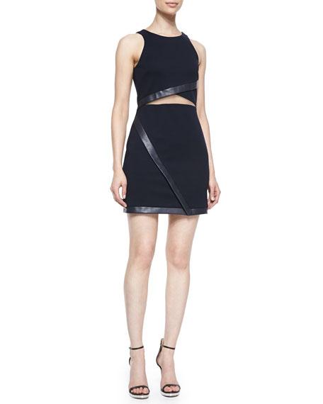 Drop-Back Faux-Leather-Trim Dress, Black