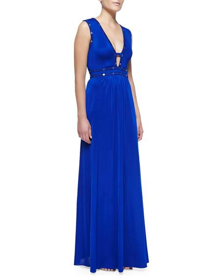 Juliette Sequin-Trim Cutout Jersey Gown