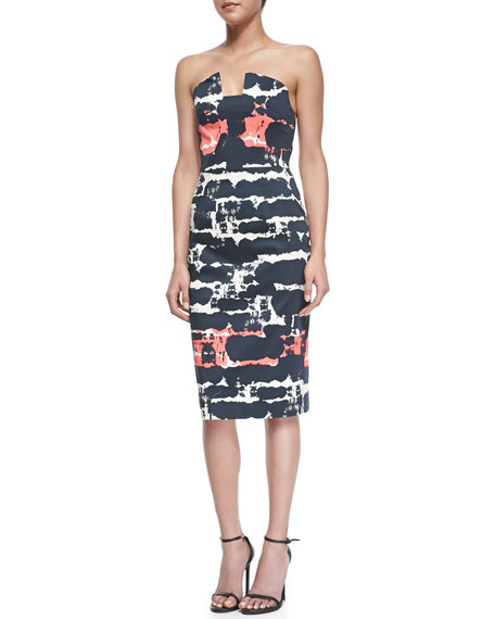 Lena Strapless Print Sheath Dress