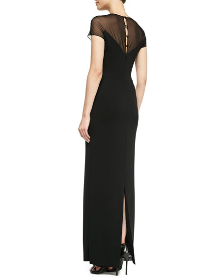 Short-Sleeve Illusion Gown, Black